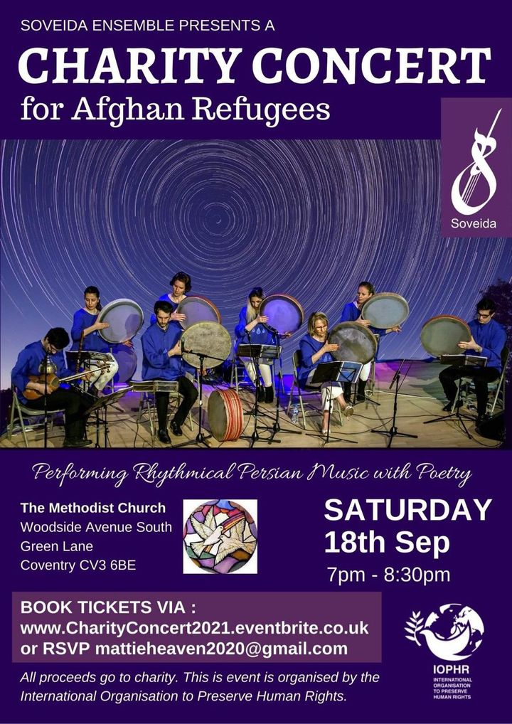 A charity concert from Soveida Ensemble on 18th September from 7:30 to 8:30om